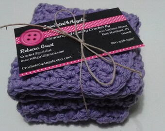 Reusable Crocheted Cotton Dishcloths, Washcloths, Set of 2- Light Purple