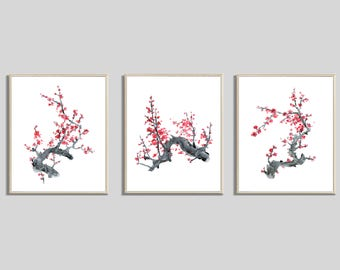 Cherry Blossom Painting Set, Set of 3 Prints, Watercolor Flower Prints, Living Room Wall Art
