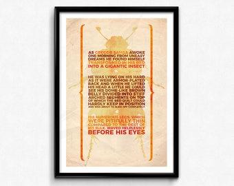 "Franz Kafka Quote Poster/Print - The Metamorphosis Poster/Print - A Gigantic Insect, CtrlAltGeek,  A2, A3, 12x16"", 18x24"" Unframed"