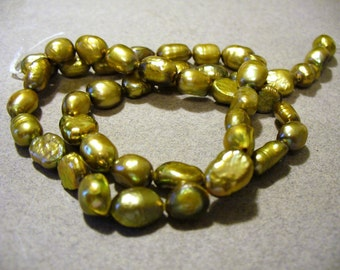 Freshwater Pearls Olive Green Colored  7mm Full Strand