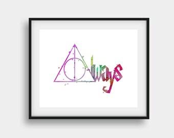 Always Printable, Always Print, Harry Potter Print, Harry Potter Poster, Harry Potter Art, Potter Wall Art, Fan Art, Movie Print, Couple Art