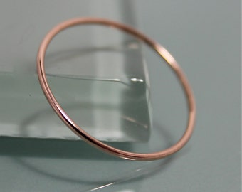 Thread Ring 14k SOLID .8mm Rose Gold Whisper Thin Round Simple Stacking Band Spacer Thread Ring  Shiny Finish Eco-friendly Recycled Gold