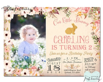 Bunny Birthday Invitation // Easter Photo Birthday Invite // Girl Birthday Invite // Typography // Watercolor Floral // Printable No.152KIDS