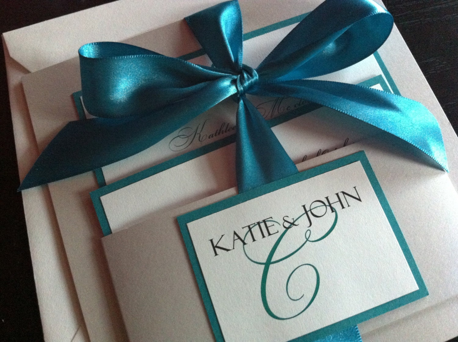 Ivory white Silver Teal / handmade Wedding Invitation
