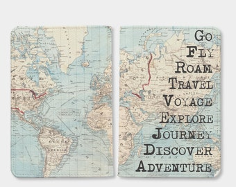 Travel World map passport holder,personalized passport,travel accessories,passport wallet,passport cover leather,birthday gift