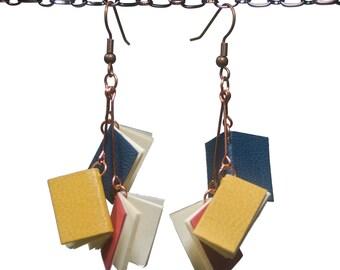 Handmade leather book earrings - Primaries