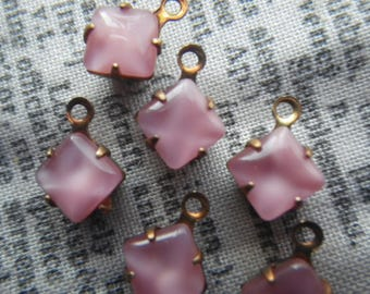 Rose Pink Moonstone 6x6mm Square Vintage Glass Drops One Ring 6 pieces