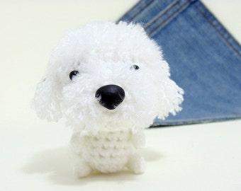 Amigurumi Bichon Frise, Crochet Dog. Cute Bichon Frise plushie. Crochet dog. Crochet Bichon Frise.