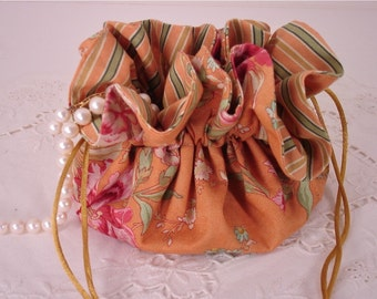 Cinnamon Girl with Passion Flowers Cotton Jewelry Pouch for Travel or Home Use
