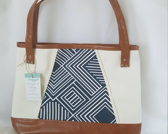 Blue Brown Off White Faux Leather Handbag, Tote Bag, Travel Bag, Diaper Bag, Laptop Bag, Large Handbag, Work Bag, Geometric
