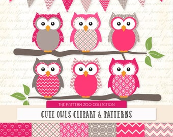 Patterned Hot Pink Owls Clipart and Digital Papers - Pink Owl Clipart, Owl Vectors, Baby Owls, Cute Owls