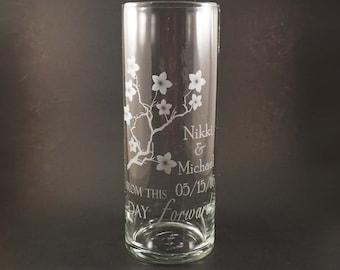 Unité personnalisée bougie Vase - Cherry Blossom bougie d'unité - unité Vase de mariage cérémonie de mariage - mariage fleur de cerisier