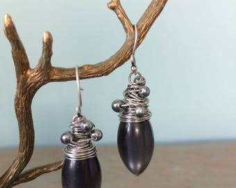 Dark gray and pewter earrings