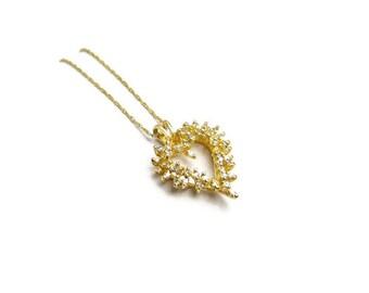 DIAMOND HEART Necklace, Vintage c. 1990 10K Gold Jewelry, Approx 0.75 Carat, Hallmarked, MINT, Fine Art Deco Style Fashion, 3 Petunia Place
