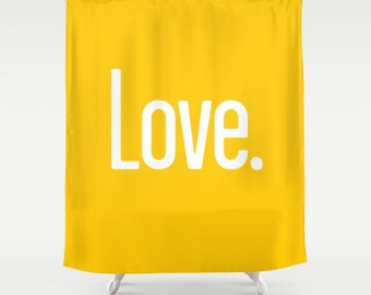 36 colours, Crocus Yellow, LOVE PERIOD Quote Shower Curtain, Modern bathroom shower curtains, bright yellow bathroom decor