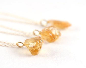 Raw Citrine Necklace, Delicate Gold Necklace, Rough Golden Crystal Necklace, Natural Uncut Gemstone Necklace, Dainty Citrine Pendant Jewelry
