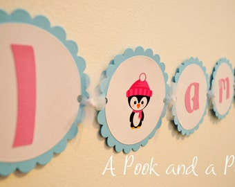 Penguin Winter Onderland / Wonderland Birthday High Chair Banner in Pink and Teal Blue Aqua Baby Shower Party Decoration