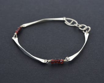 Garnet bracelet, sterling silver, Red garnet, forged silver, boho style, simple modern,  gift for her, unique jewelry