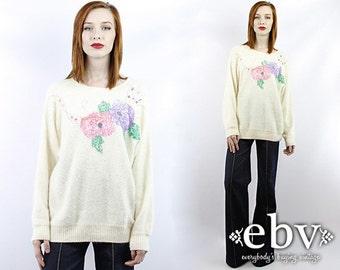 Vintage Sweater Vintage 80s Sequin Sweater Jumper S M L Angora Sweater Oversized Sweater Cream Sweater Cream Jumper Floral Sweater