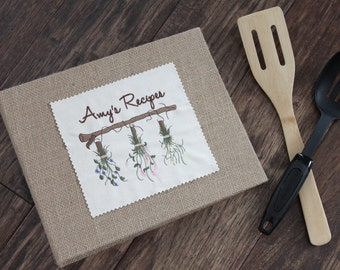 Personalized Recipe Binder/Book/Holder/Cookbook -Cards & Dividers - Herbs - Wedding, Hostess, Housewarming Gift