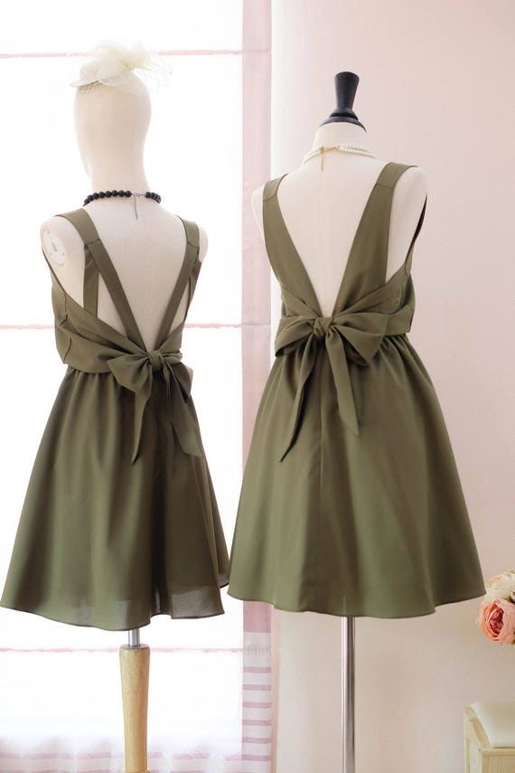 Olive Green Prom dress Olive green bridesmaid dress Green