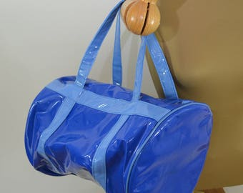 last chance Vintage SHINY Vinyl DUFFEL cooler PADDED made in Taiwan 1970's
