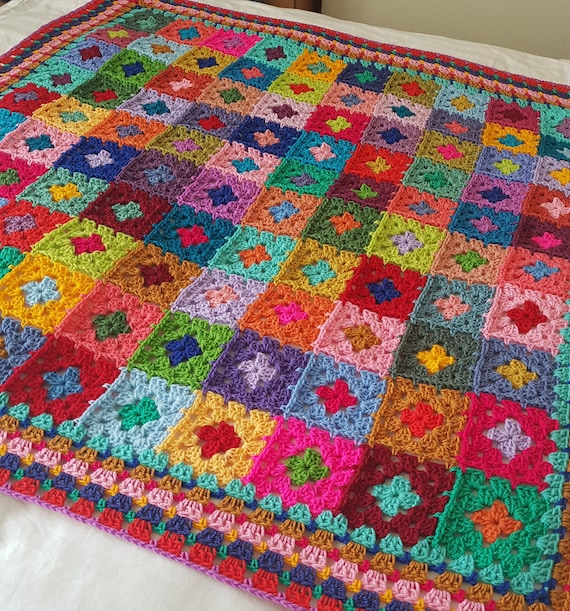 The Sunroom Uk Crochet Afghan Blanket Rainbow Harlequin Granny