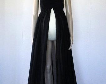 Black Chiffon Strapless Maternity Gown