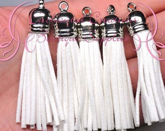 59mm White Faux Suede Tassel Charms With Silver Top, 5pcs Graduation Gift, End of School, DIY Keychain, Necklace, Bracelet, Earrings