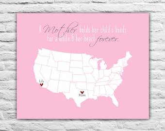 Mother's Day Gift for Mom from Daughter Art Print Custom MomMaps Personalized Long Distance Relationship Quotes Mother's Day Gift Ideas
