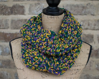 Mardi GrasTri-color Crochet Scarf
