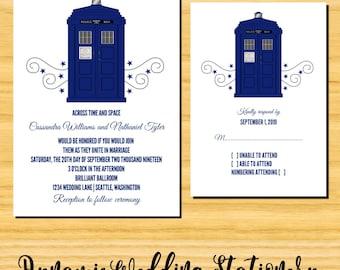 DIY Printable Police Box Swirls Wedding Invite and RSVP Card