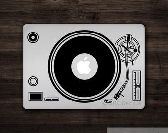 Platine vinyle DJ - Mac Apple Logo housse ordinateur portable Sticker autocollant sticker Macbook musique musicien électronique tourne-disque Vinyl