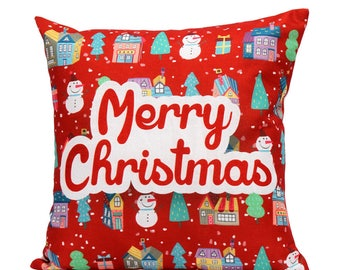 Merry Christmas Bright Red and Multi-Colored Pillow Cover 18 x 18