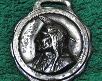 "Lincoln NE Advertising Watch Fob Lincoln NE American Ins Co Indian Watch Fob - 1 1/2"" X 1 3/4"" - Silver Tone - Great Find!"