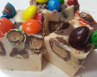 Loaded Peanut Butter Cup M&Ms Fudge Gourmet Candy Fudge 1/2 pound