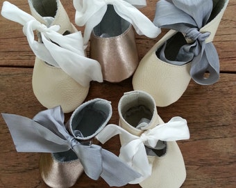 handmade leather baby ballet shoes