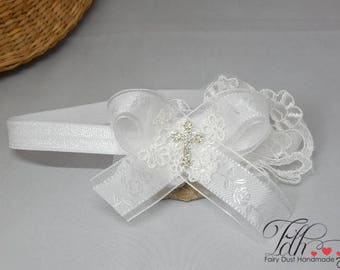 White baby bow for christening, baptism satin bow and lace hair band with cross