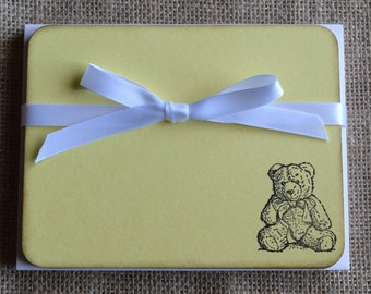 Teddy Bear Flat Note Cards / Baby Thank You Cards - Set of 10