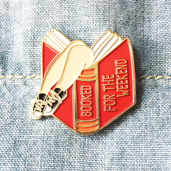 Booked for the Weekend Red Book Lover Enamel Pin