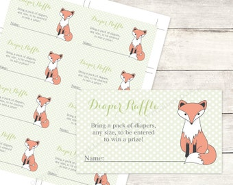 diaper raffle tickets printable fox baby shower DIY green grey polka dots woodland fox cute baby digital shower games - INSTANT DOWNLOAD
