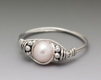 Soft Pink Pearl Bali Sterling Silver Wire Wrapped Bead Ring - Made to Order, Ships Fast!