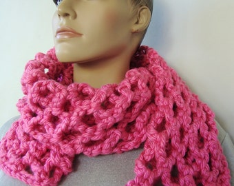 Pink Scarf, Scarf, Scarves, Crochet Scarf, Chunky Scarf, Women's Scarves, Gift for Her, Breast Cancer, Hot Pink Scarf, Hand Crocheted