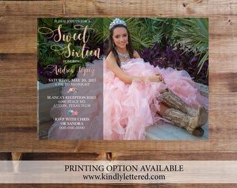 Sweet Sixteen Birthday Invitation-Sweet Sixteen Digital File-Quinceanera Birthday Party Invitation-Cotillion Birthday Party Invitation