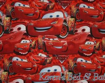 Disney Cars Fabric By Yard, Quarter Yard, Fat Quarter Lightning McQueen Red Car Fabric Cotton Quilting Fabric t6/21