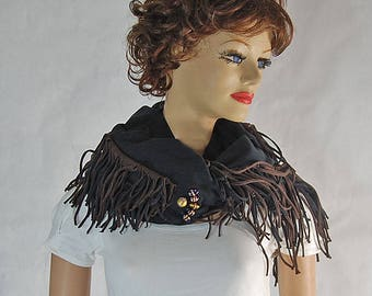 Fabulous black Scarf or Shawl with decorative fringe and beads. One of a kind.