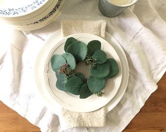 Small eucalyptus wreath / mini eucalyptus wreath / farmhouse wreath for table setting or accent decor /place setting boxwood wreath / rustic