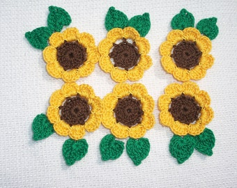 6 yellow & brown crochet applique sunflowers with leaves  --  1879