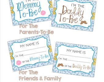 Printable Baby Shower Name Tags <Package> - Blue Cheetah Print