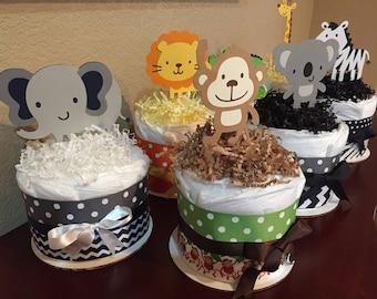 Safari Themed Baby Shower/Safari Diaper Cakes/Baby Shower/Jungle Theme Diaper Cakes